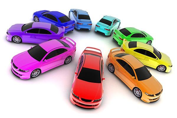 разноцветные машины